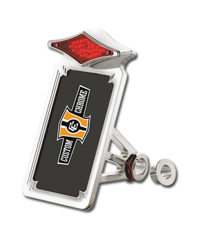 Custom Chrome Diamond Vertical Sidemount Taillight Frames For Harley Davidson 87-99 Softail Motorcycles (640904)