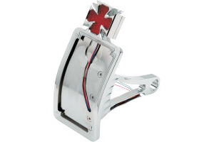 Drag Specialties Axle Mount Maltese Cross Curved Vertical LED Taillight License Plate Mount For 2000-2007 Softail Models With 3/4 Inch Or 1 Inch Axles (2010-0558)