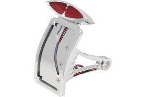 Drag Specialties Side Mount Deco Taillight License Plate Mount Curved Vertical For Harley Davidson 1986-1999 FXST & FLST With 3/4 Inch Axle (2030-0171)