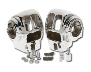 Custom Chrome Handlebar Switch Housings for 96-06 Touring Models with Radio (No Cruise Control) in Chrome Finish (652016)