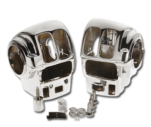 Custom Chrome Handlebar Switch Housings for 96-06 Touring Models with Radio and Cruise Control in Chrome Finish (652017)