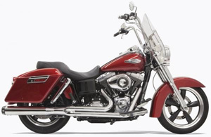 Bassani Road Rage 2 Into 1 Long System In Chrome With Black End Cap For Harley Davidson 2012-2016 Dyna Switchback Models (1D28R)