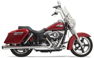 Bassani 4 Inch Slip-On Megaphone Muffler In Chrome With Black End Cap For Harley Davidson 2012-2016 FLD Dyna Switchback (1D17R)