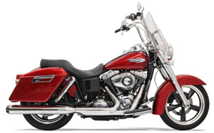 Bassani 4 Inch Slip-On Quick Change Series Muffler In Chrome With Black End Cap For Harley Davidson 2012-2016 FLD Dyna Switchback (1D87R)