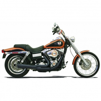 Bassani Road Rage 2-Into-1 Short Megaphone Exhaust System in Black Finish For 1991-2005 Dyna Models (13322R)