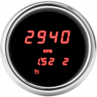 Dakota Digital Tachometer 3000 Series 3-3/8 Inch in Chrome Finish With Red LED For 2004-2013 FLHT/FLTR/FLHX, H-D FL Trike Models (MCL-36K-TCH-R)