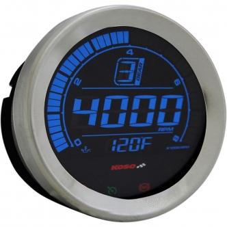 Koso Tachometer HD-02R 4 Inch in Silver Finish (BA051100)
