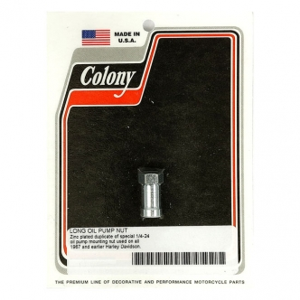 Colony Oil Pump Nut, Early Style Long Shoulder Nut, 1/4-24 Thread in Zinc Finish For 1936-1967 B.T. OHV Models (ARM886929)