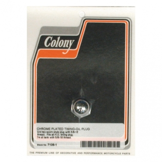 Colony Timing & Drain plug 5/8-18 Threaded in Chrome Acorn Finish For Timing Plug, 1938-1999 B.T. (Excluding TC), 1952-2003 XL, 1938-1973 45 Inch SV, 1981-Up Various Oil Tanks (Excluding FLT, FXR) Models (ARM038309)