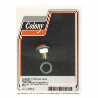 Colony Domed Hex Drain Plug 1/2-20 Threaded Including Gasket in Chrome Finish For Late 1981-1992 FLT, 1982-1985 FXR Oil Tanks (ARM692989)