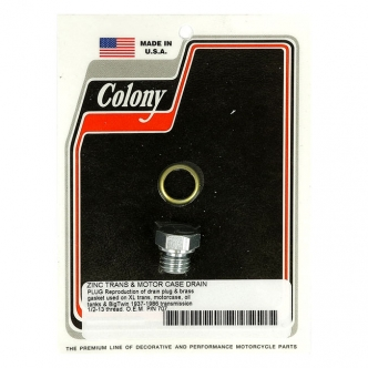 Colony Timing & Drain Plug 1/2-13 Threaded Including Brass Washer in Zinc Hex Finish For 1937-1986 B.T., 1952-1976 K, XL Case & Oil Tank Models (ARM737929)