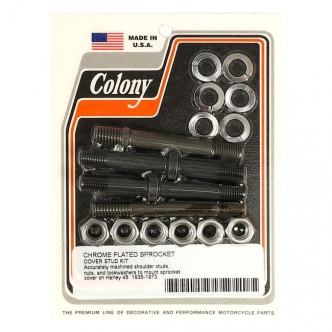 Colony Sprocket Cover Stud Kit in Chrome Finish For 1935-1973 45 Inch SV Models (ARM163179)