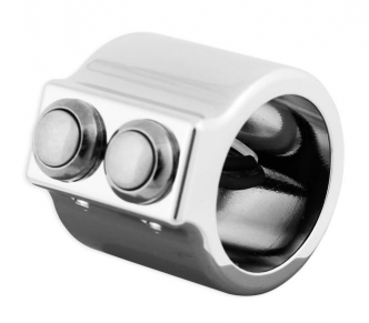 Custom Chrome Dual Switch Housing Kit For 1 Inch Diameter Handle Bar in Billet Aluminium Chrome Finish (890367)