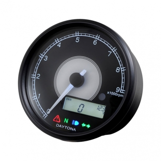 Doss Velona 80mm Tachometer 9000 RPM in Black Finish White LED Illumination (ARM913955)