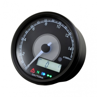 Doss Velona 80mm Tachometer 14000 RPM in Black Finish White LED Illumination (ARM023955)
