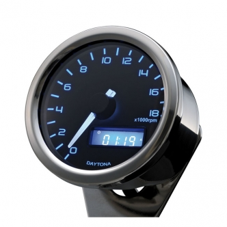 DOSS Velona 60mm Tachometer 18000 RPM in Polished Stainless Housing, Blue Illumination (ARM151015)