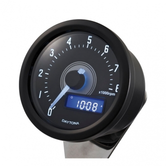 Doss Velona Tachometer 8000 RPM in Black Housing, White LED Illumination (ARM351015)
