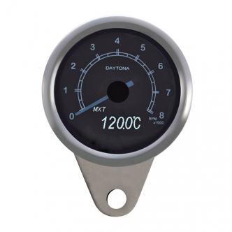 Doss Velona 60mm Tachometer 8000 RPM White LED Illumination in Stainless Steel Finish (ARM994009)