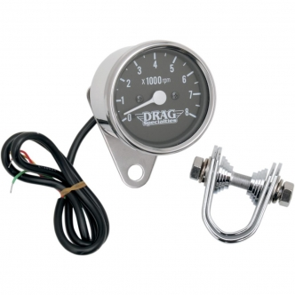 Drag Specialties 2.4 Inch Tachometer 8000 RPM Led Chrome, Black Face, White Needle For 1999-2003 Twin Cam, 1986-2003 XL Models (21-6930DSLEDB)
