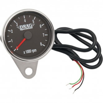 Drag Specialties 2.4 Inch Tachometer 8000 RPM Led Chrome, Black Face, Red Needle in Polished Finish For 1999-2003 Twin cam, 1986-2003 XL Models (21-6894DS)