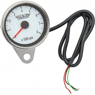 Drag Specialties 2.4 Inch Tachometer 8000 RPM LEd Chrome, White Face, Red Needle in Polished Finish For 1999-2003 Twin Cam, 1986-2003 XL Models (21-6894DSW)