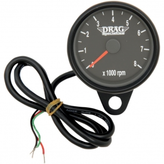 Drag Specialties 2.4 Inch Tachometer 8000 RPM Led, Black Housing, Black Face in Black Finish For 1999-2003 Twin Cam, 1986-2003 XL Models (21-6894BDS)