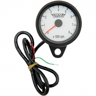 Drag Specialties 2.4 Inch Tachometer 8000 RPM Led Black Housing, White Face in Black Finish For 1999-2003 Twin Cam, 1986-2003 XL Models (21-6849BDSW)