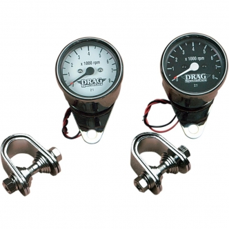 Drag Specialties 2.4 Inch Tachometer 8000 RPM Bulb Chrome, White Face For 1999-2003 Twin Cam, 1986-2003 XL Models (21-6930NUDS)