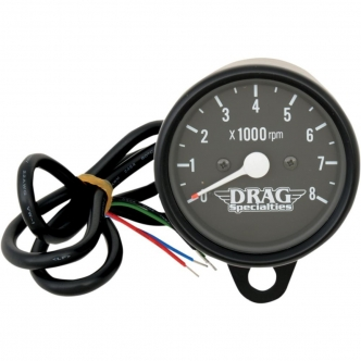 Drag Specialties 2.4 Inch Tachometer 8000 RPM Bulb Black Housing, Black Face For 1999-2003 Twin Cam, 1986-2003 XL Models (21-6910BNUDS1)