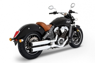 Rinehart Racing 3.5 Inch Slip-Ons In Chrome With Black End Caps For 2015-2019 Indian Scout Motorcycles (500-0504)
