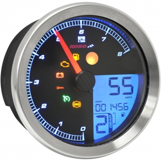 "Koso North America Chrome Bezel HD-04 Multimeter For 2011-2020 Softail, 2012-2020 Dyna Glide & 2014-2020 XL Models That Use 3 & 3/8"" Stock Gauge Mounting Cup (BA051220)"