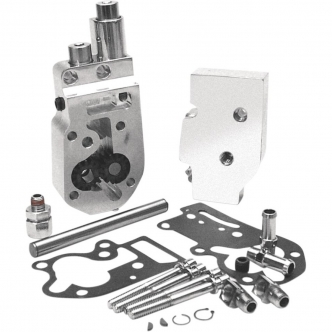 Jims Flow Pro 1 Billet Oil Pump Complete Assembly In Polished With Top Feed And Return Oil Lines For 73-91 Big Twins (1754)
