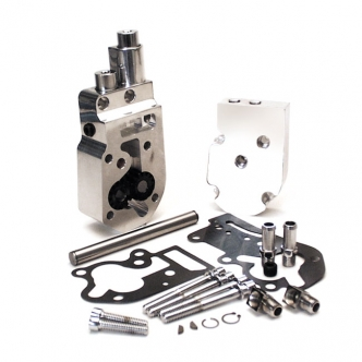 Jims Flow Pro 1 Billet Oil Pump Complete Assembly In Polished With Top Feed And Return Oil Lines For 92-99 Big Twins (1752)