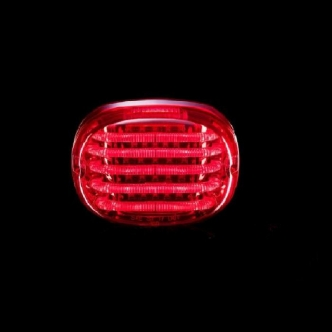Custom Dynamics Probeam Squareback LED Taillight With Window in Red Finish For 1999-2017 Dyna, 1999-2020 Sportster, 1999-2017 Softail, 2005-2013 Touring Models (PB-TL-SBW-R)