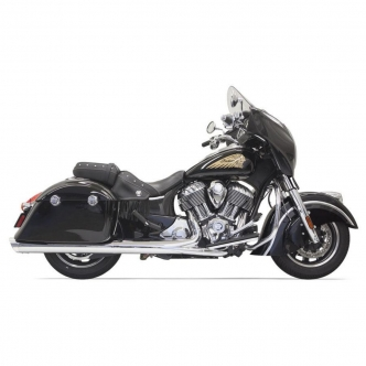 Bassani 4 Inch Slip On Mufflers In Chrome With Polished Slash-Cut End Cap For 2014-2019 Indian Models (8C17S)