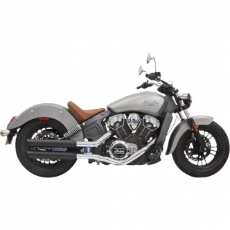 Bassani 3 Inch Slip On Mufflers In Black With Black Slash-Cut End Caps For 2015-2019 Indian Scout (8S17BSB)