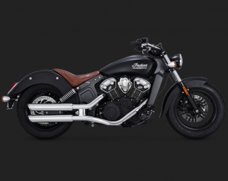 Vance & Hines 3 Inch Round Twin Slash Slip-On Mufflers In Chrome For 2015-2019 Indian Scout (18623)