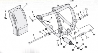 Swingarm Breakdown Diagram For 2000-2017 Softail Models (ARM000238)