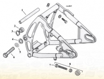 Swingarm Breakdown Diagram For 1984-1999 Softail Models (ARM000238)