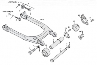 Swingarm Breakdown Diagram For 2004-2020 Sportster Models (ARM000242)