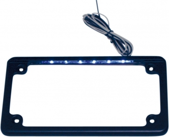 Custom Dynamics Horizontal Motorcycle License Plate Frame In Black With L.E.D. Illumination (LPF-HRZ-B-LP)