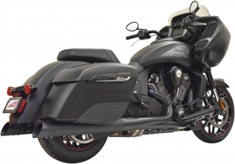 Bassani 4 Inch Black Mufflers With Black Slash-Cut End Caps For Indian Challenger, Chieftain & Road Master Models (8C17SB)