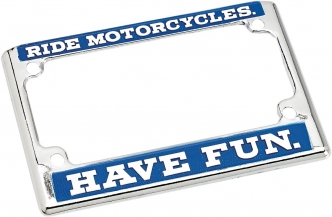 Biltwell USA License Plate Frame RMHV in Blue/White Finish (LP-ZIN-DC-HF)